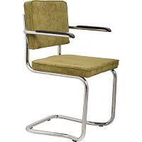 Sada 2 zelených židlí s područkami Zuiver Ridge Kink Rib