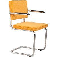 Sada 2 žlutých židlí s područkami Zuiver Ridge Kink Rib