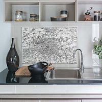Sada 24 nástěnných samolepek Ambiance Stickers Tiles Paris Map, 10 x 10 cm