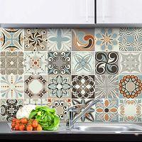 Sada 24 nástěnných samolepek Ambiance Wall Stickers Cement Tiles Rumba, 20 x 20 cm