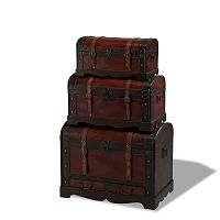 Sada 3 dřevěných dekorativních truhlic Knuds Trunks Rustic