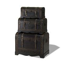 Sada 3 dřevěných dekorativních truhlic Knuds Trunks Shadow