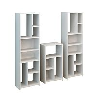 Sada 3 knihoven v bílém provedení Opaline