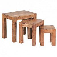 Sada 3 odkládacích stolků z masivního akáciového dřeva Skyport Solana