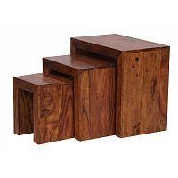 Sada 3 odkládacích stolků z masivního palisandrového dřeva Skyport Socorro