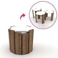 Sada 3 stohovatelných odkládacích stolků v dekoru dřeva wenge Rafevi Hansel