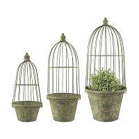 Sada 3 zelených kovových květináčů s poklopem Esschert Design