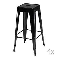 Sada 4 černých barových stoliček Knuds Korona