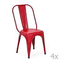 Sada 4 červených kovových jídelních židlí Interlink Aix