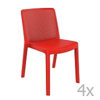 Sada 4 červených zahradních židlí Resol Fresh Garden
