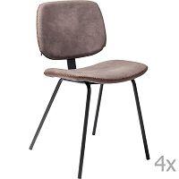 Sada 4 hnědých jídelních židlí Kare Design  Barber