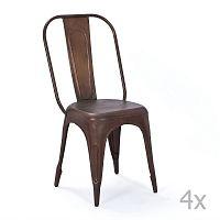 Sada 4 hnědých kovových jídelních židlí Interlink Aix