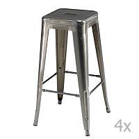 Sada 4 šedých barových stoliček Furnhouse Korona
