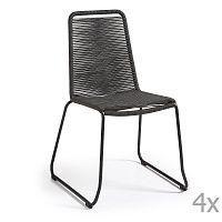 Sada 4 tmavě šedých židlí La Forma Meagan