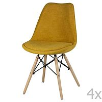 Sada 4 žlutých jídelních židlí sømcasa Lindy