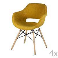 Sada 4 žlutých jídelních židlí sømcasa Nadine
