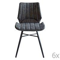 Sada 6 šedých jídelních židlí RGE Odin