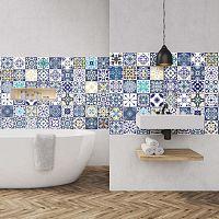 Sada 60 nástěnných samolepek Ambiance Azulejos Cyprus, 10 x 10 cm