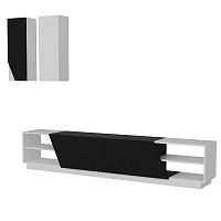 Sada bílé TV komody a 2nástěnných skříněk Zebra
