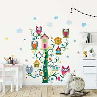 Sada dětských samolepek na zeď Ambiance Owls and their Magic Tree
