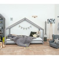 Šedá dětská postel z lakovaného smrkového dřeva Benlemi Sidy, 80 x 190 cm