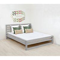 Šedá dřevěná dvoulůžková postel Benlemi DeLuxe, 190x180cm
