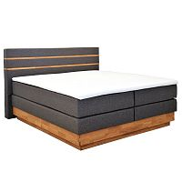 Šedá dvoulůžková boxspring postel Sinkro Lineo, 180x200cm