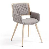 Šedá židle s dřevěným podnožím a područkami La Forma Andre