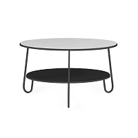 Šedý konferenční stolek s mramorovou deskou HARTÔ Eugénie, ⌀ 70cm