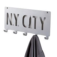 Šedý nástěnný věšák s 5 háčky Compactor NY City