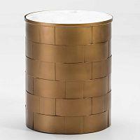 Šedý odkládací stolek s mramorovou deskou a konstrukcí ve zlaté barvě Thai Natura, ⌀40cm