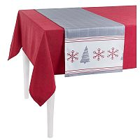 Šedý vánoční běhoun na stůl Apolena Honey Snowflakes, 40 x 140 cm