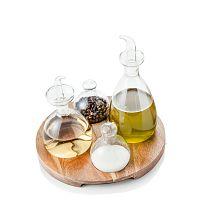Set 4 lahviček na koření a dřevěného stojanu Brandani Verre
