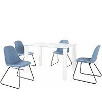 Set bílého jídelního stolu a 4 modrých jídelních židlí Støraa Dante Colombo