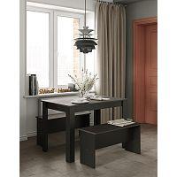 Set černého jídelního stolu a 2 lavic s deskou v dekoru betonu Symbiosis Nice