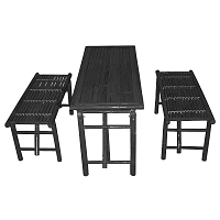 Set černého stolu a 2 lavic z bambusu Leitmotiv