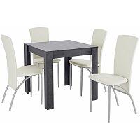 Set jídelního stolu a 4 bílých jídelních židlí Støraa Lori Nevada Duro Slate White