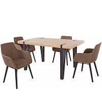 Set jídelního stolu a 4 hnědých jídelních židlí Støraa Shelia Buckley