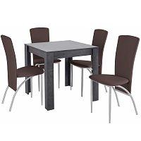 Set jídelního stolu a 4 tmavě hnědých jídelních židlí Støraa Lori Nevada Duro Slate Brown