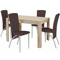 Set jídelního stolu a 4 tmavě hnědých jídelních židlí Støraa Lori Nevada Oak Brown