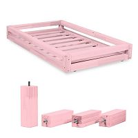 Set růžové zásuvky pod postel a 4 prodloužených nohou Benlemi,propostel80x160cm