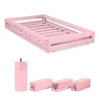 Set růžové zásuvky pod postel a 4 prodloužených nohou Benlemi,propostel90x200cm