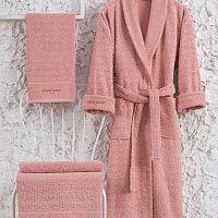 Set růžového bavlněného dámského županu velikosti S, ručníku a osušky Bathrobe Set Lady
