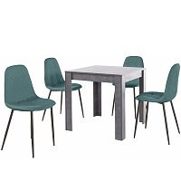 Set šedého jídelního stolu a 4 modrých jídelních židlí Støraa Lori Lamar Duro