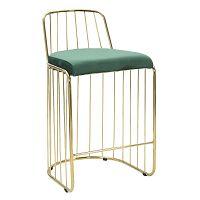 Smaragdově zelená barová židle s konstrukcí ve zlaté barvě Mauro Ferretti Cage