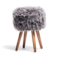 Stolička se šedým sedákem z ovčí kožešiny Royal Dream