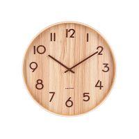 Světle hnědé nástěnné hodiny z lipového dřeva Karlsson Pure Large, ø 60cm