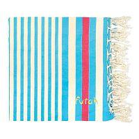 Světle modrá plážová bavlněná osuška Futah Meco, 190x190 cm