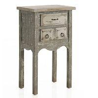 Světle šedý příruční stolek se 2 zásuvkami Geese Antique