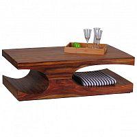 Tmavě hnědý konferenční stolek z masivního sheeshamového dřeva Skyport BOHA